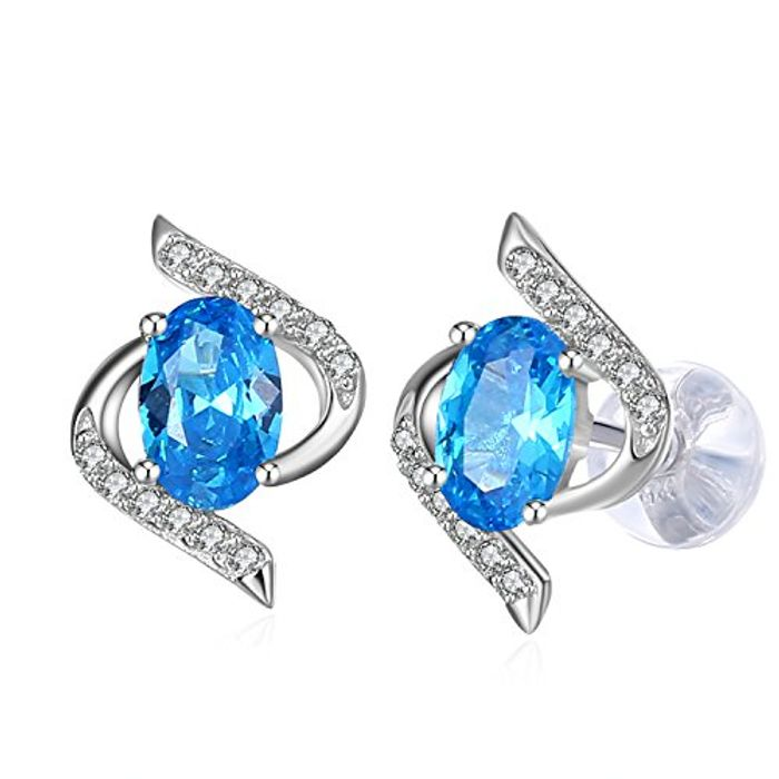 J.Rose Blue High Polished Zircon Stud Earrings - £4.87 from Amazon!
