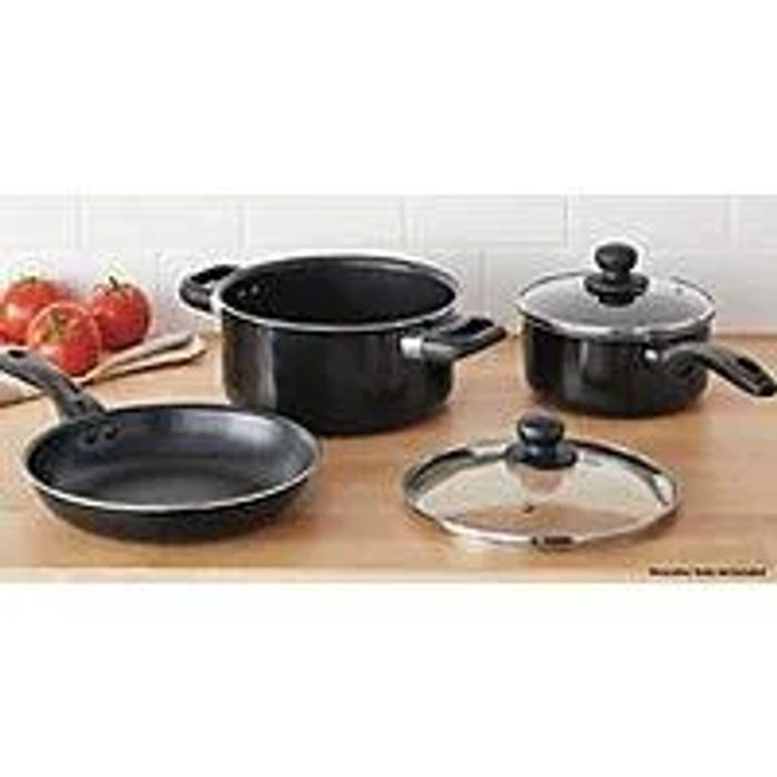 George Home Aluminium Black Saucepan Set - Half Price