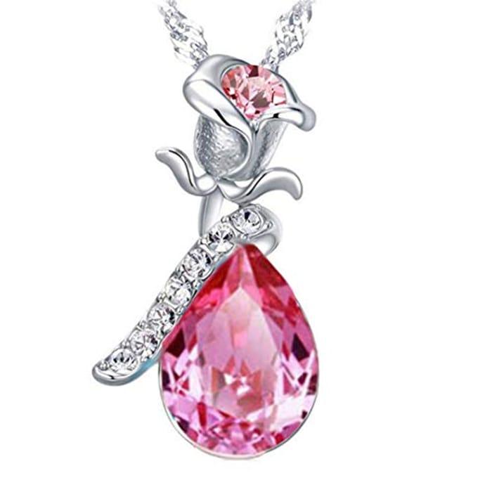 Underleaf Vintage Ladies' Necklace Pendant Rose Flower Silver Pink