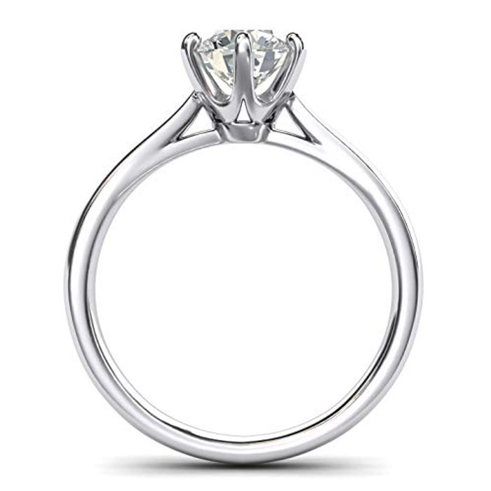 Sterling Silver 2.0 CT 6-Prong Solitaire Simulated Diamond Engagement Ring