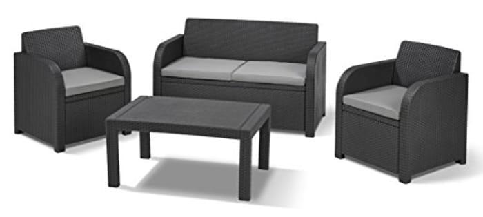 Keter Carolina Outdoor 4 Seater Rattan Lounge Table Garden Furniture Set