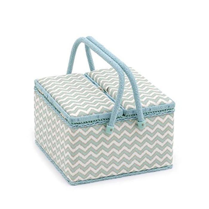 Hobbygift Large Sewing Box, Mint&Gld, 20 X 20 X 11 Cm