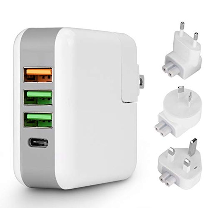 Tongesil Multi Port 4 USB Wall Charger with USB-C Interface