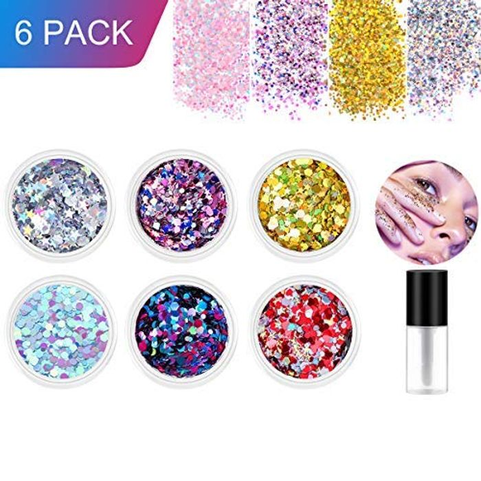 6 Colors Body Glitter for Face Body Hair and Nail