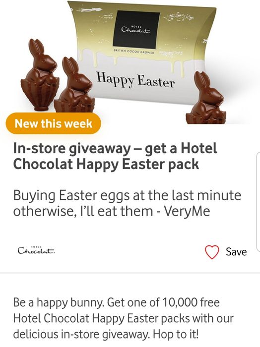 Vodafone VeryMe In-Store Giveaway Get a Hotel Chocolat Happy Easter Pack
