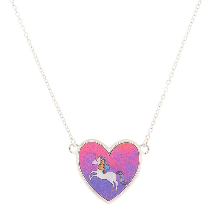 Miss Glitter the Unicorn Holographic Pendant Necklace - Pink