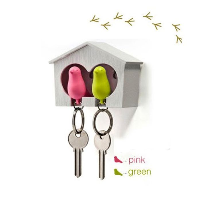 Wood House Sparrow Bird Key Ring + Key Holder + Whistle - Free Delivery