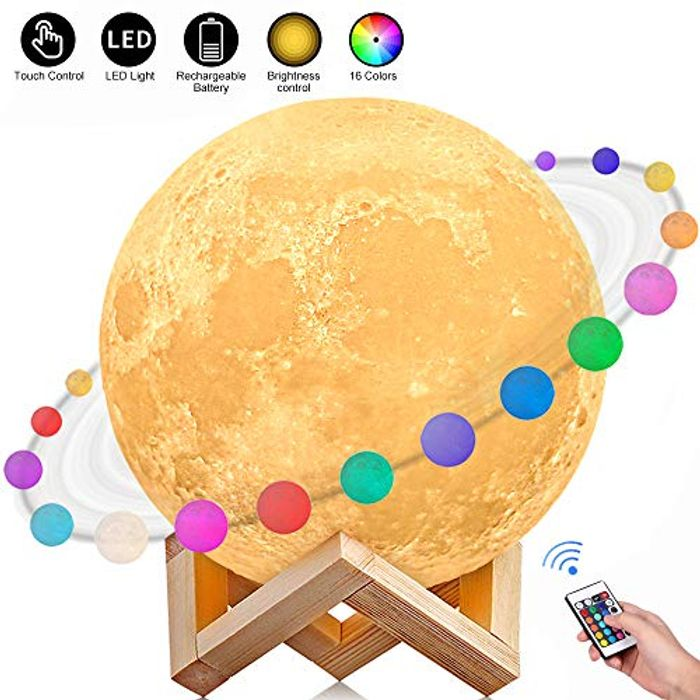 AGM 3D Printed 16 Colors LED Moon Light with Stand