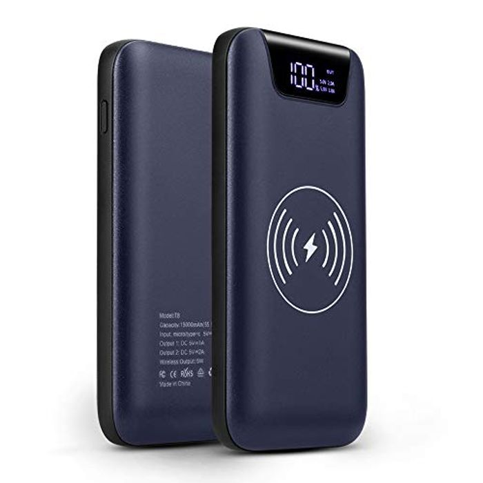 10000mAh Portable Charger Qi Wireless Charging External Battery Pack