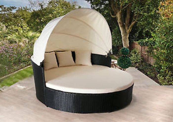 Details about RATTAN DAY BED RATTAN GARDEN FURNITURE SOFA LOUNGER OUTDOO