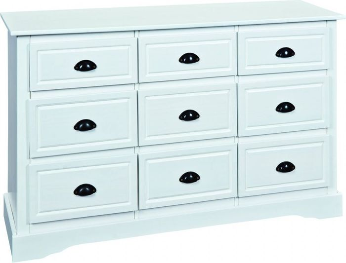 Tena White Wooden Chest of Drawer Dresser Cabinet Solid Wood - 134 x 80 x 40 cm