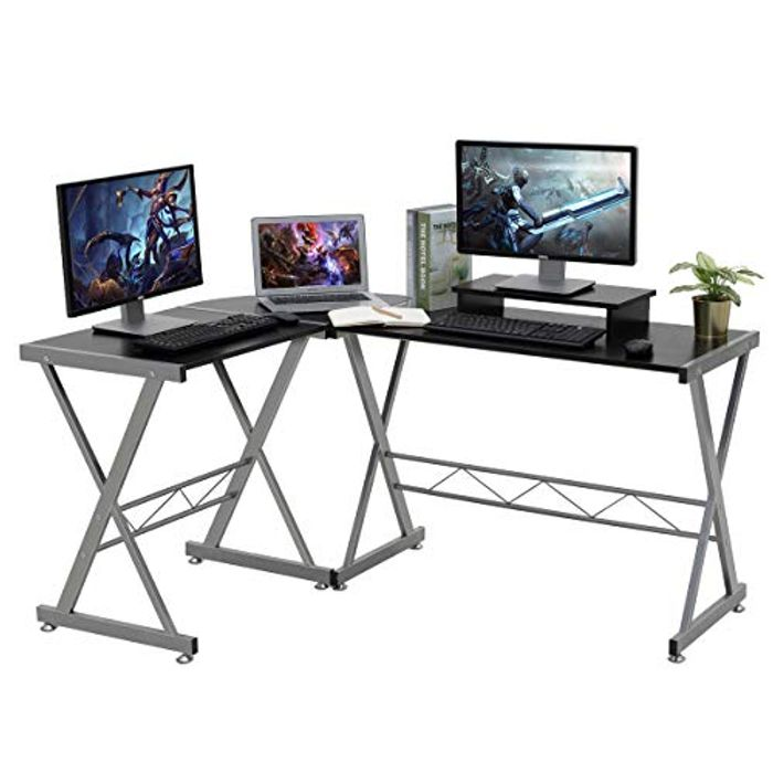 Wood & Metal L-Shaped Desk/ Workstation with Free Monitor Stand