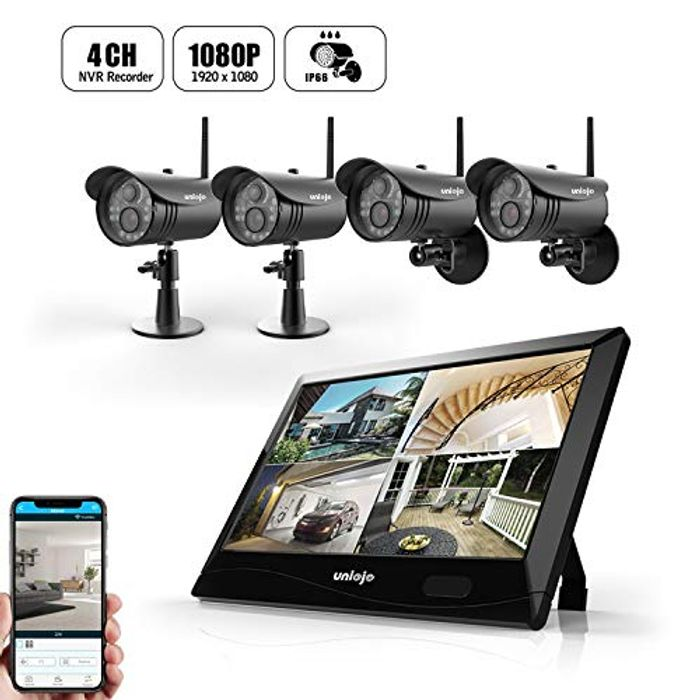 50% off UNIOJO 1080P 4CH DVR with 10.1'' LCD Touch Screen Monitor