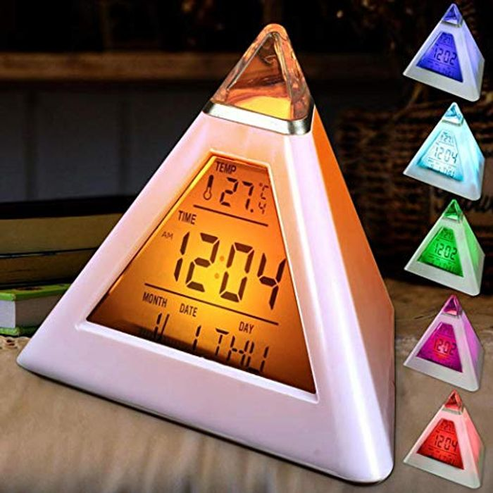 Color Changing Alarm Clock Geometric Shape Digital Display Desk Clock