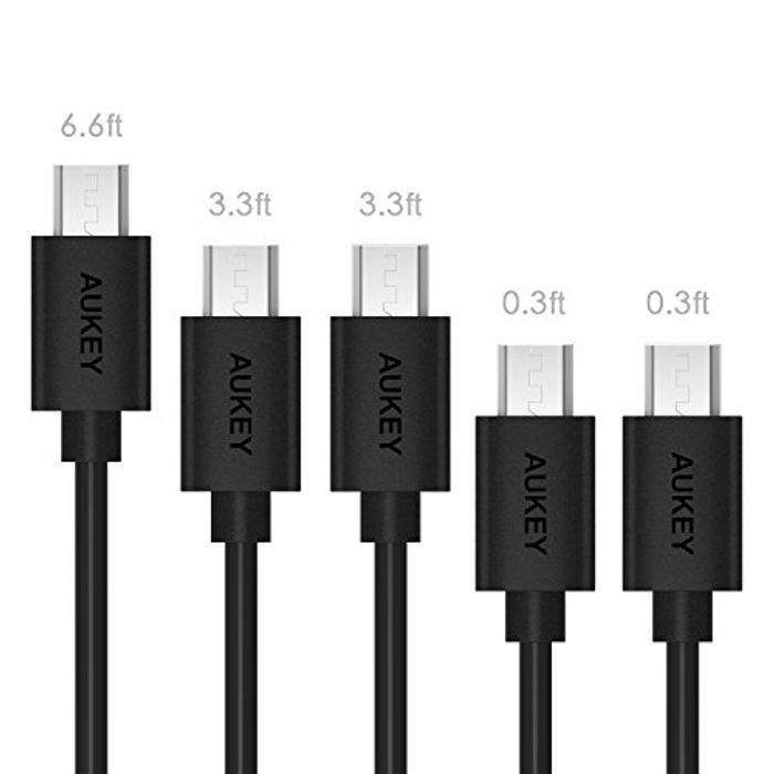 AUKEY Micro USB Cable ( 5-Pack: 6.6ft X 1 , 3.3ft X 2 , 1ft X 2 )