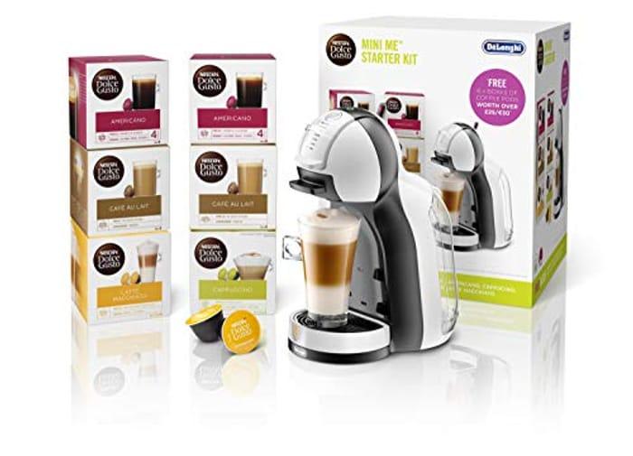 NESCAF Dolce Gusto Mini Me Coffee Machine Starter Kit by De'Longhi, White/Black