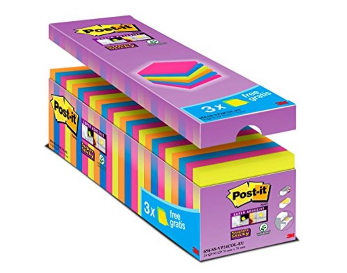 Post It Notes Super Sticky Notes, 76 X 76 Mm, Pack of 24 (90 Sheets per Pad)
