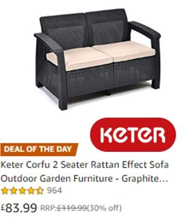 30% off - Keter Corfu 2 Seater Rattan Effect Sofa **4.6 STARS**