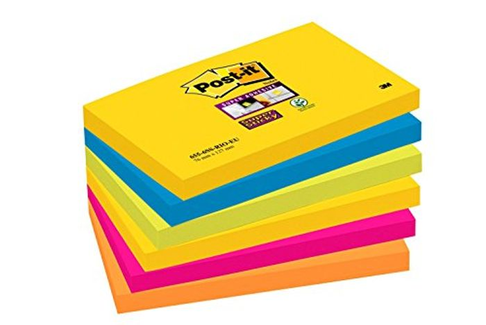 Post-It Super Sticky Notes, Rio Colour Collection, 6 Pads (90 Sheets per Pad)