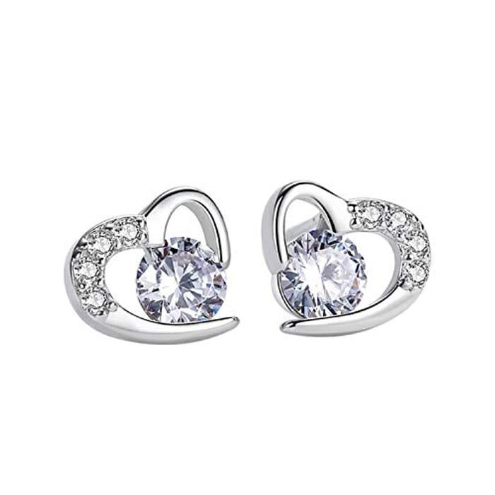 Amilril Love Heart Stud Earrings at Amazon