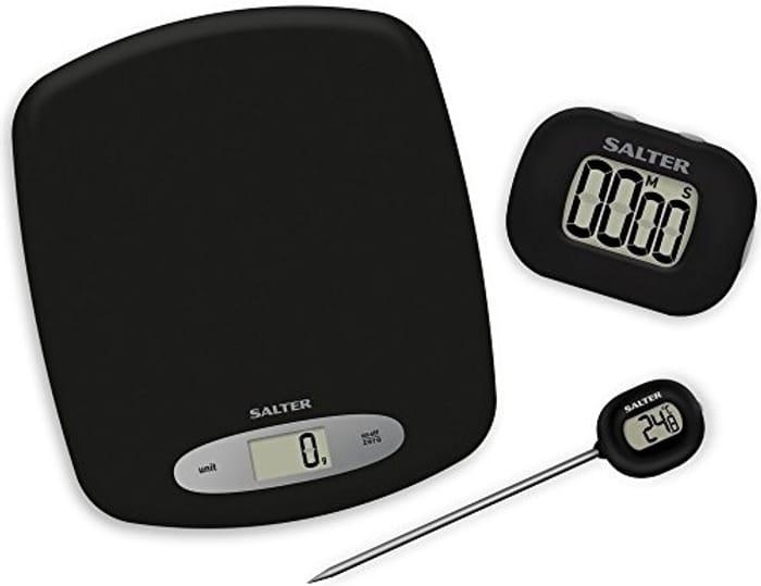 Salter Gift Set, Digital Kitchen Scales, Timer & Cake Thermometer