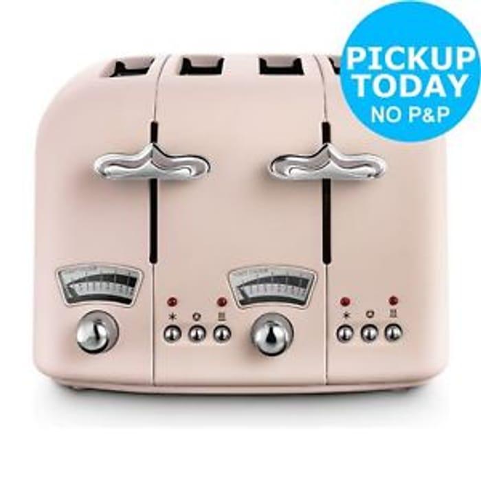 De'Longhi CTO4.PK Argento Flora 1800W Toaster - Rose Click and Collect