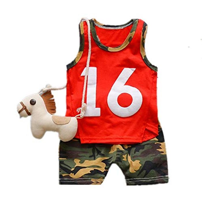 Cheap Acecoree Baby Boy Casual O-Neck Sleeveless Shirt Shorts Suit Trouser & Top
