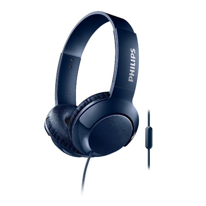 Philips BASS+ Wired Headphones with Mic - Blue