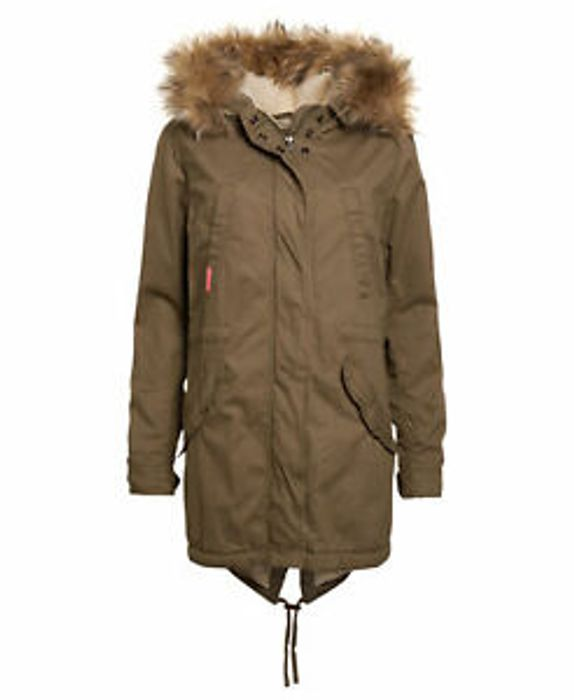 Womens Superdry Unique Sample Heavy Weather Rookie Parka Size XS Army