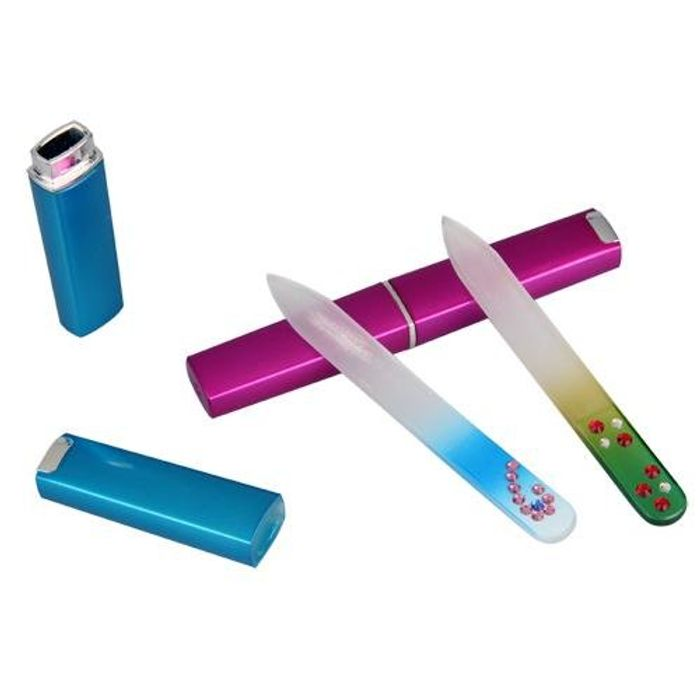 FACILLA 2 Colors Professional Crystal Glass Nail Files + Hard Case [Misc.]