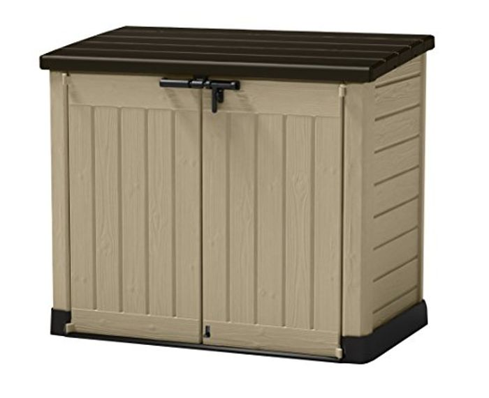 Outdoor Plastic Garden Storage Shed, Beige and Brown - 35% Off