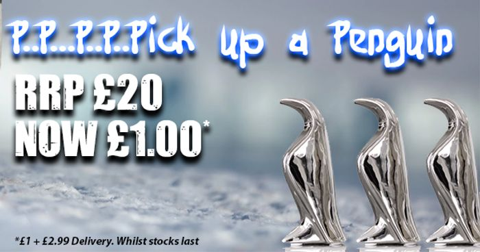 Small Penguin Ceramic Chrome Statue for Just £1 + £2.99 Postage | (RRP £20)