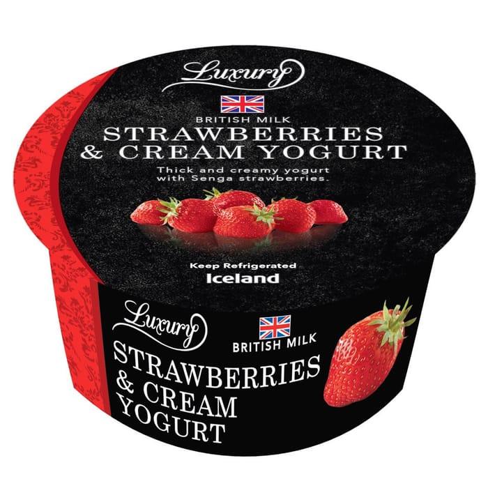 Iceland Luxury Strawberries & Cream Yogurt 150g