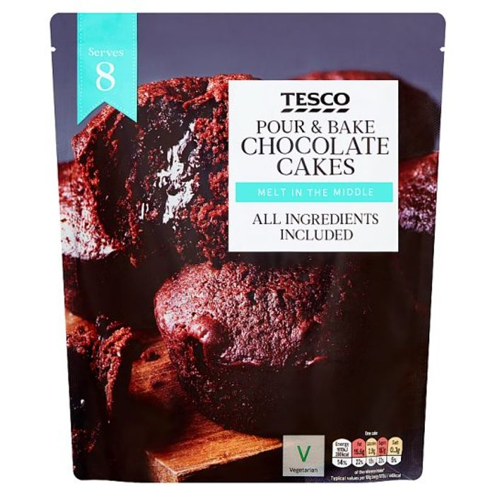 BUY 1 GET 1 FREE Tesco Pour and Bake Chocolate Cakes 500G