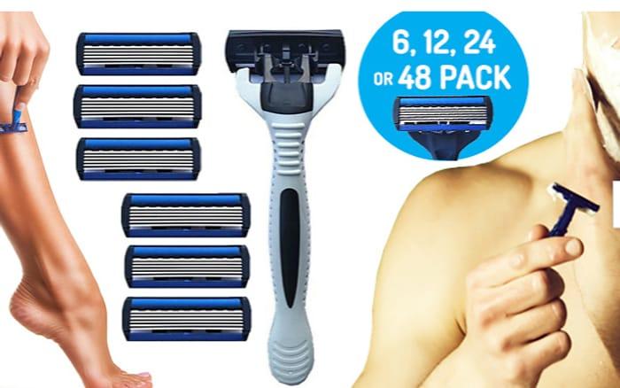 Gillette Compatible Razor Blade Heads & Handle - 6, 12, 24 or 48