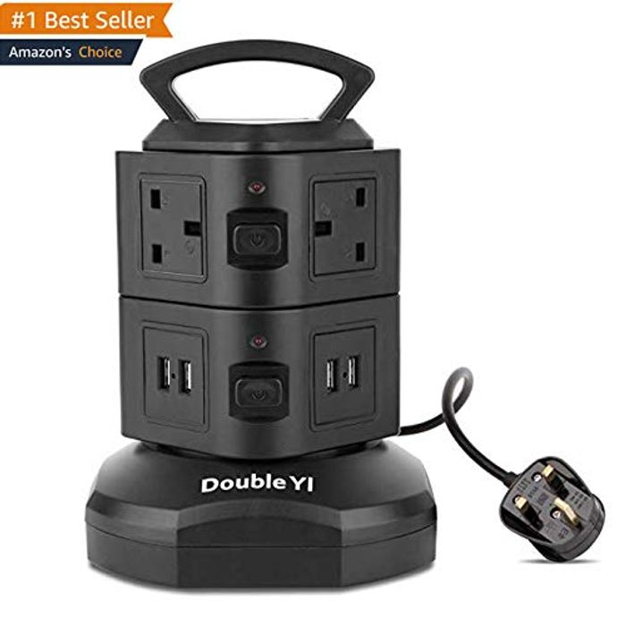 6 Socket Extension Tower Power Strip with Retractable 3m/9.8Ft & 4 USB Ports