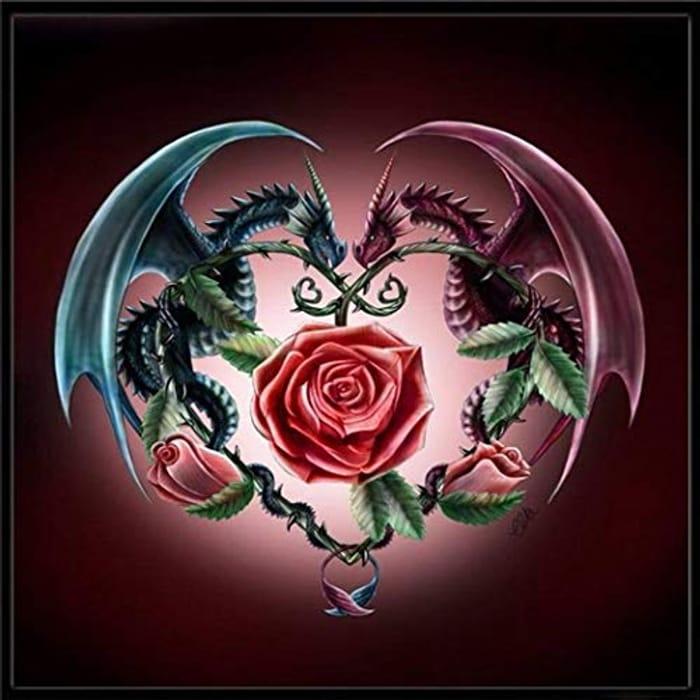 DIY Diamond Dragon with Rose Painting