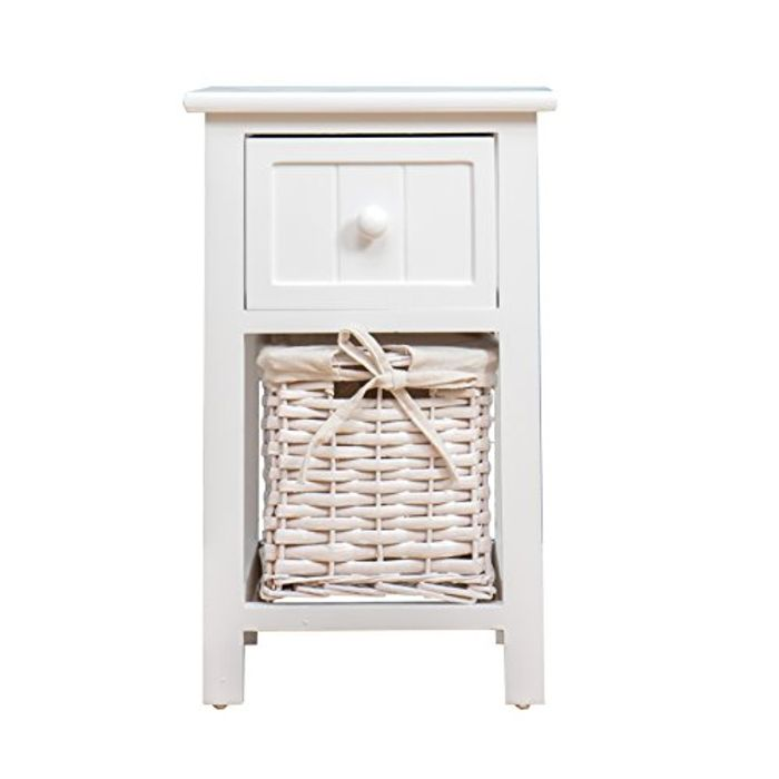 Wood White Bedside Table with Drawer & 1 Wicker Baskets Storage