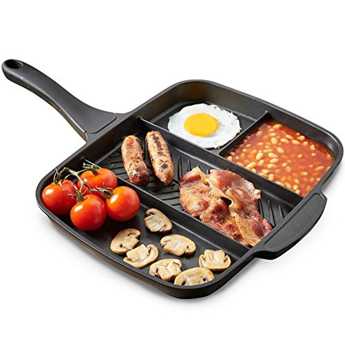 VonShef All in One Frying Pan/4 in 1 Multi Section Grill - 38% Off