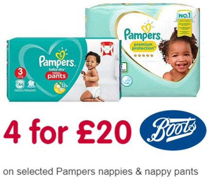 PAMPERS DEAL! 4 for £20 at Boots (ONLINE ONLY DEAL)