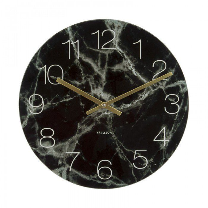 Karlsson Glass Marble Desk Clock - Black [D]