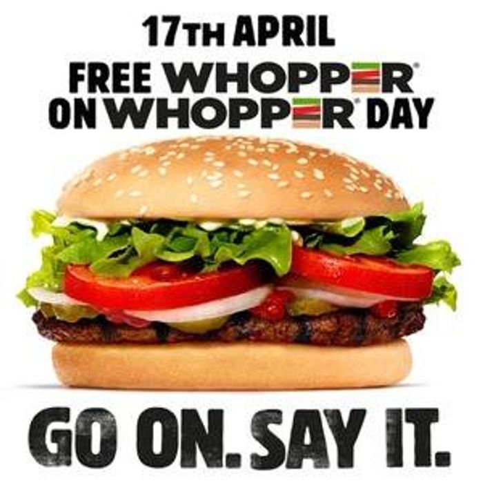 Free Whopper Burger from Burger King - 17th April 2019