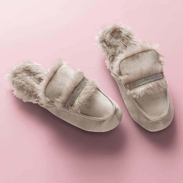 Almond Shimmer Loafer Slippers