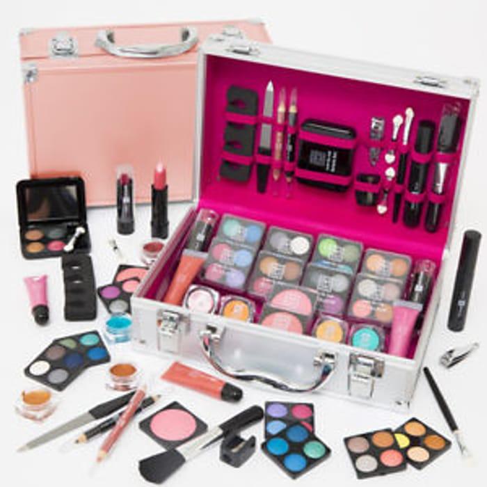 54pcs Make up Set & Vanity Case Beauty Rose Gold Cosmetics
