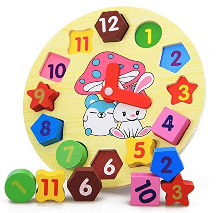 KrishQ - Wooden Clock for Kids. Learning Numbers, Shapes and Clock