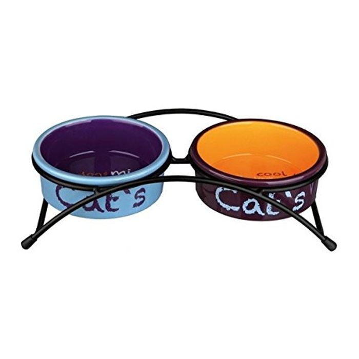 Ceramic Cat Bowl Set with Rubber Feet
