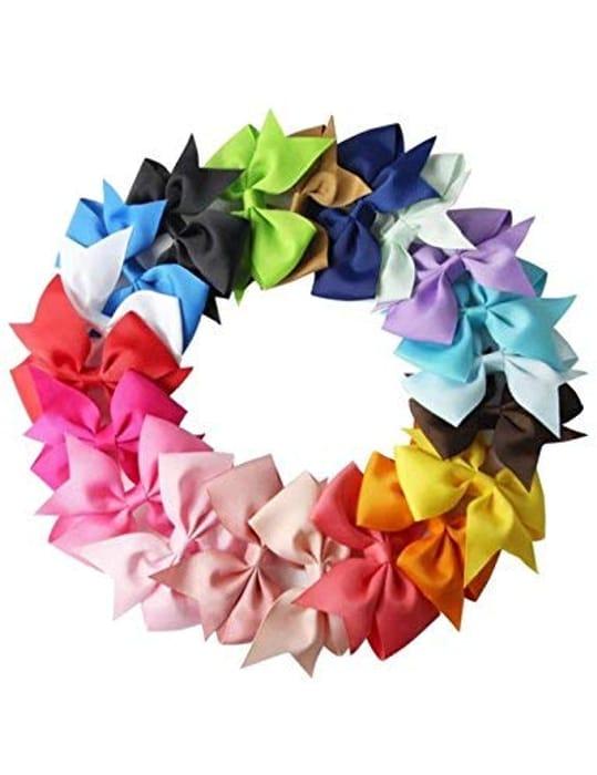 10pcs Girls Ribbon Bow Hair Clip