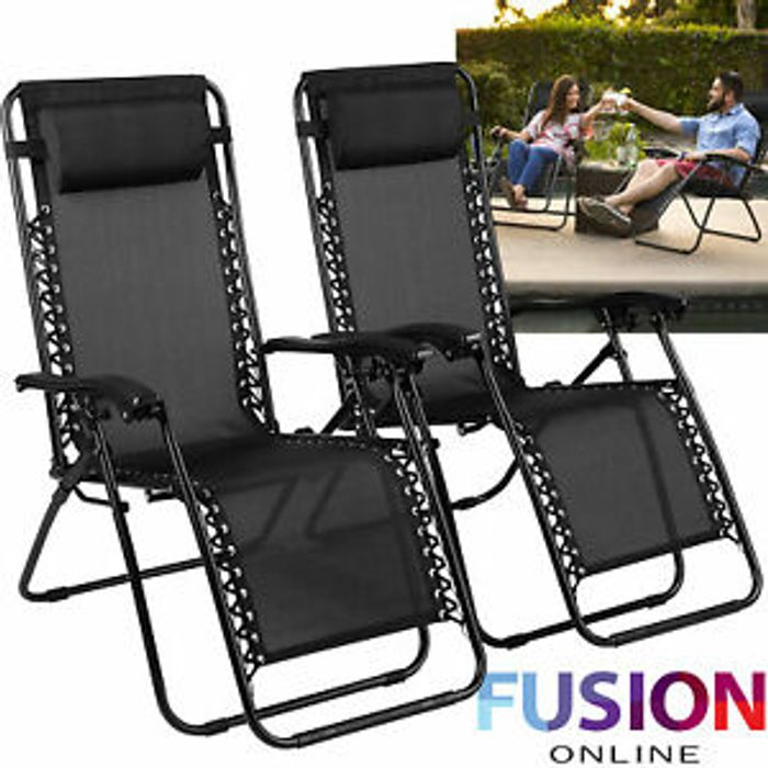 Details about 2 X Reclining Sun Folding Zero Gravity Chair Adjustable