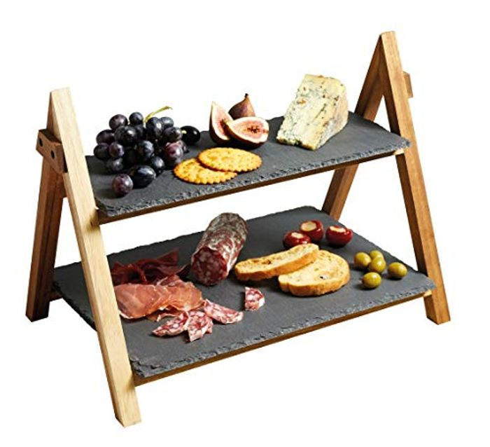 Artes 2-Tier Wooden Cake / Antipasti Stand with Slate - 43% Off