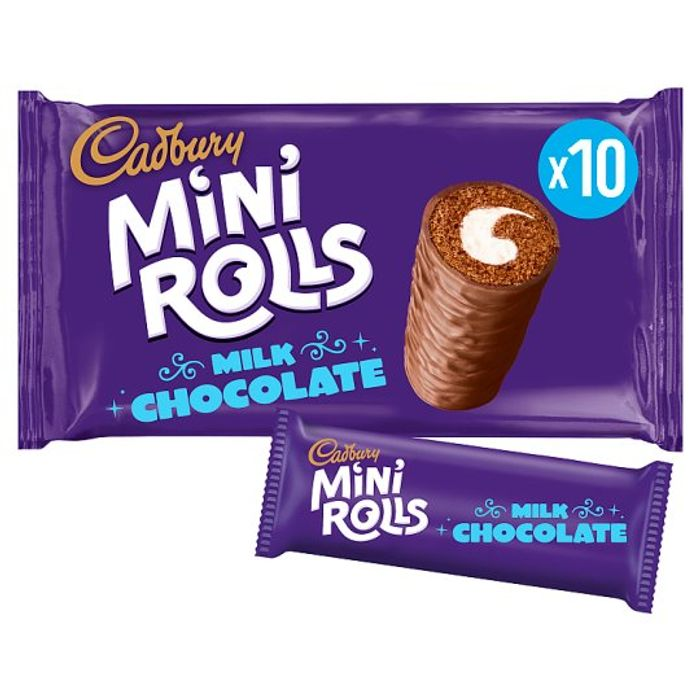 Cadburys Chocolate / Raspberry Mini Rolls 10 Pack - Half Price